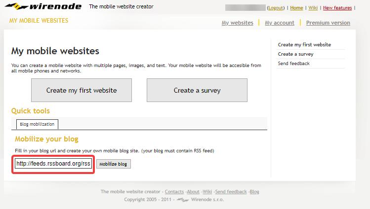 Конструктор предложит создать новый мобильный веб-ресурс при условии, что на нем имеется RSS-лента. После того, как введен нужный URL, можно нажимать кнопку «Mobilize Blog»: